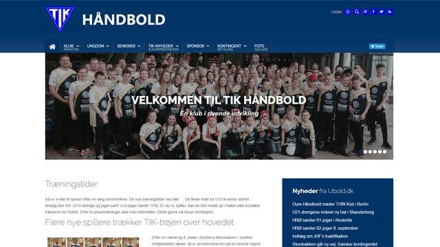 Tik Håndbold - Reference, Ny Hjemmeside